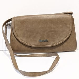 2/$20 Bench faux leather tan crossbody bag clutch